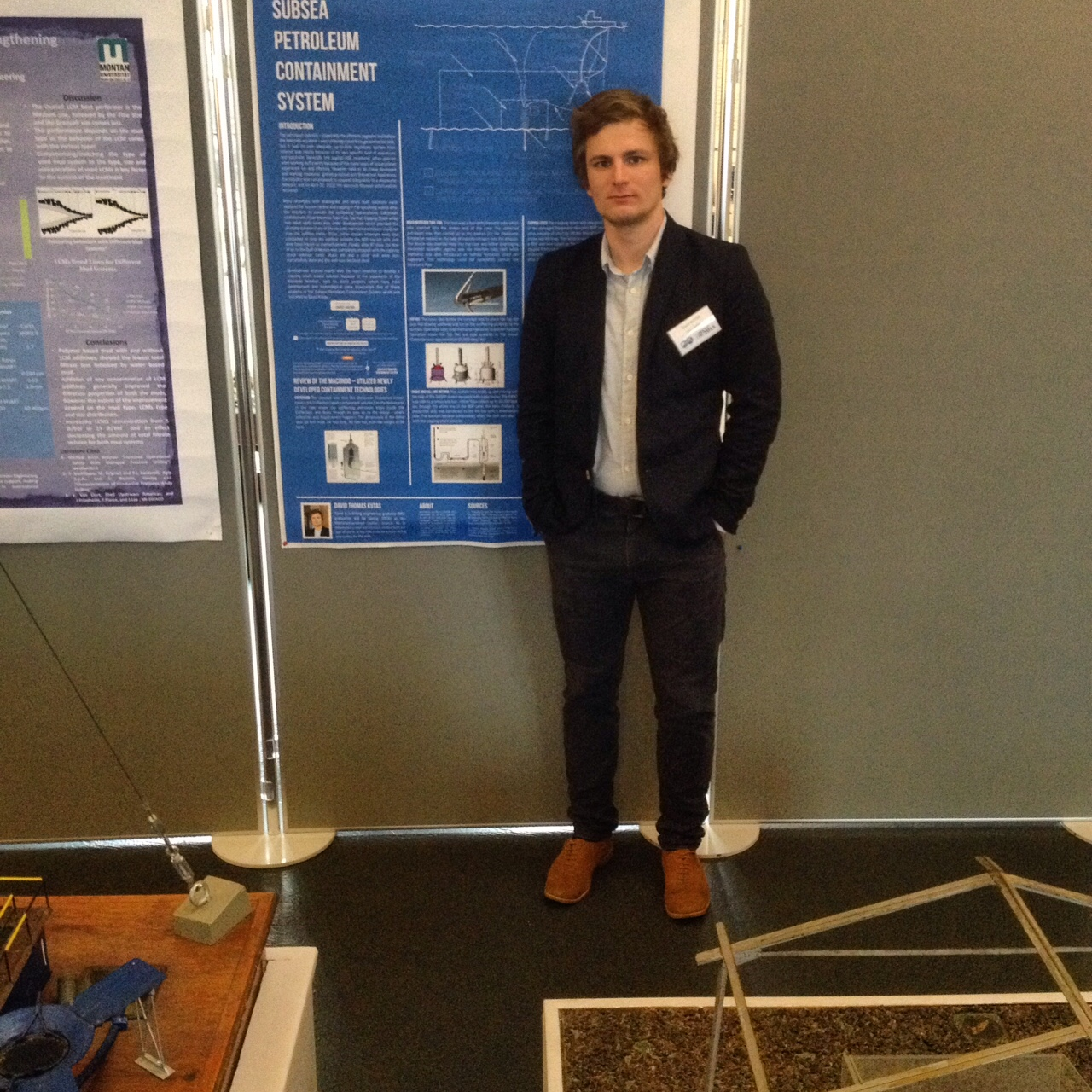 David Kutas with his poster presentation - Subsea Petroleum Containment System
