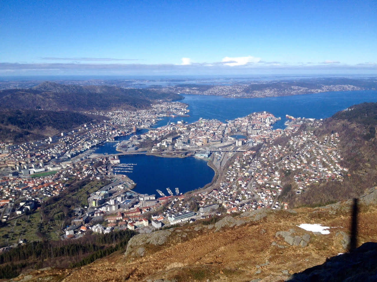 Bergen, Norway - where the SPE One Day Seminar was on 20 April 2016 - from the Ulriken (672m) Peak