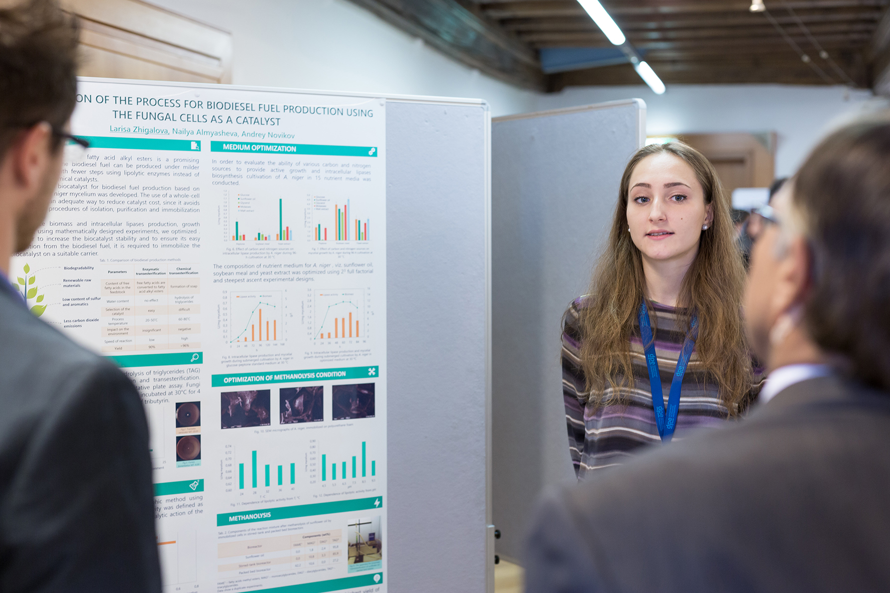 "Larissa Zhigalova presenting her poster ""Optimization of the Process for Biodiesel Fuel Production Using the Fungal Cells as a Catalyst"""