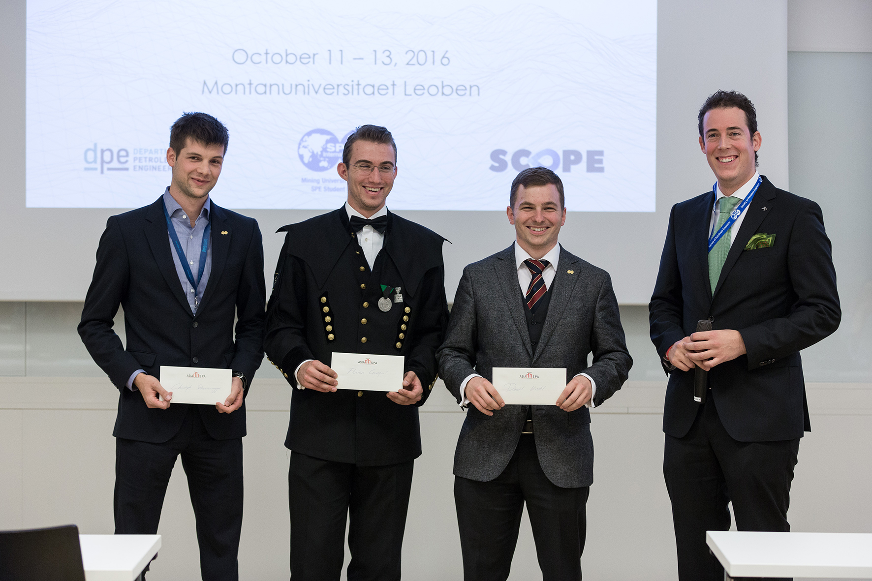 Mining University of Leoben SPE Student Chapter President Oliver P. Spenger together with the SCOPE Organizing Committee Daniel Hirschl, Florian Gamperl and Christoph Schwarzenegger.