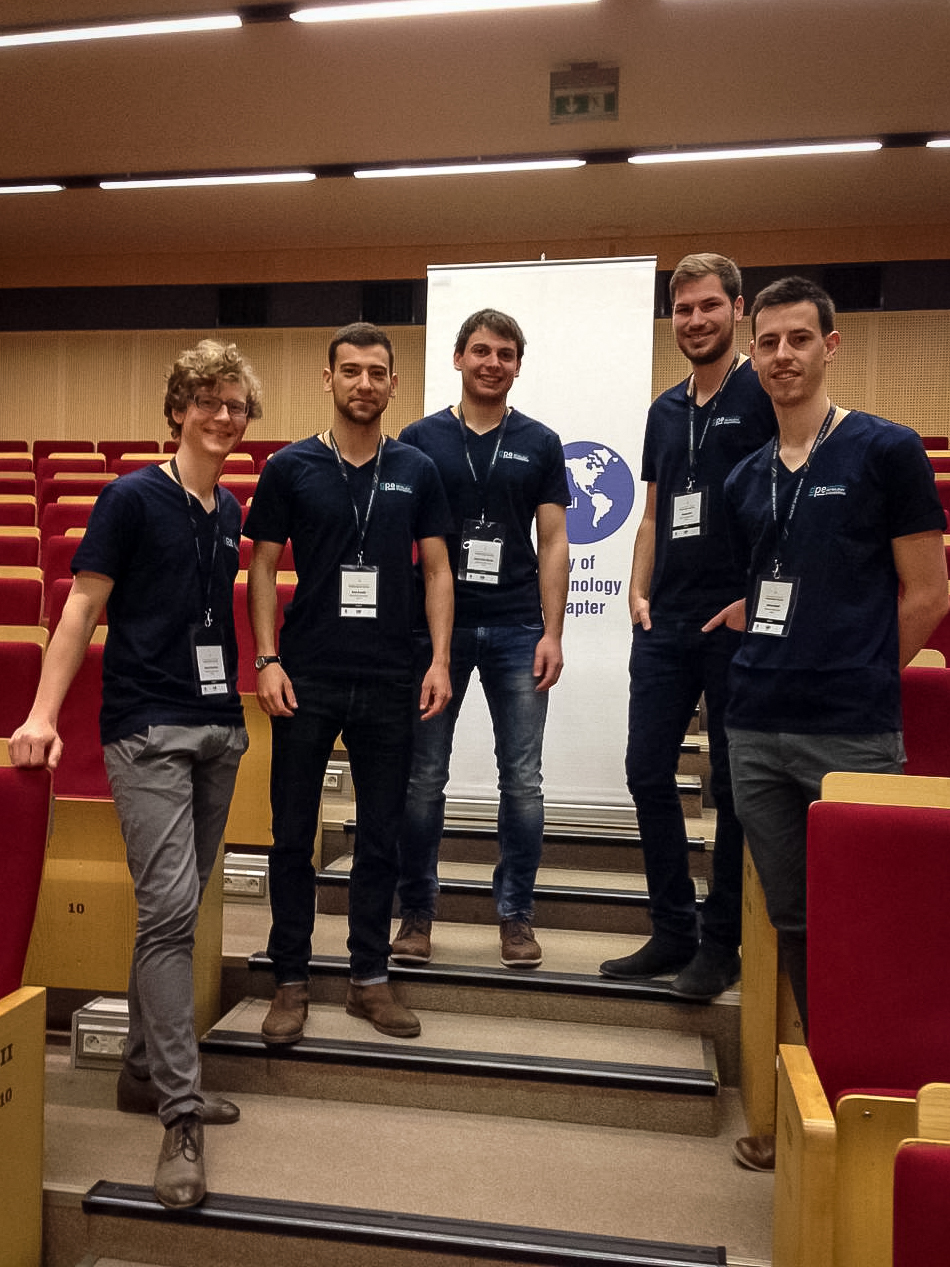 Markus Hofmeister, Alexis Koulidis, Robert Nitsche, Michael Nirtl, and Mathias Bayerl (left to right) proudly represented MUL at the PetroBowl Regional Qualifier at the EMW Congress in Krakow