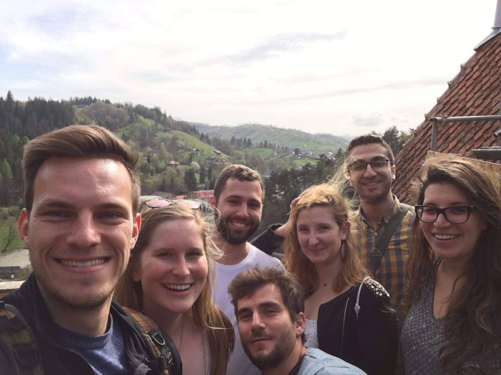 The organizers enjoying Dracula's Castle at the end of the field trip